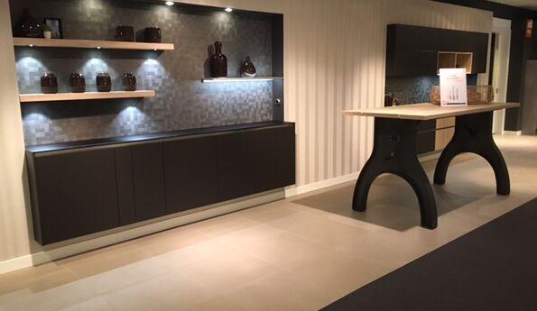 Showroomkeuken Mokka ultramat / Eiken zand CVT keukens Tilburg